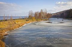 Winter view of lakes and parks near Kyiv Sea, Ukraine Stock Photos