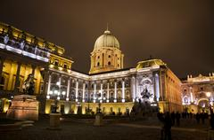 Buda castle inner courtyard at night, Budapest, Hungary Stock Photos