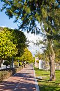 Cycle lanes at the Molos park in Limassol, Cyprus - stock photo