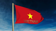 Vietnam flag slider style with title. Waving in the wind with cloud background Stock Footage