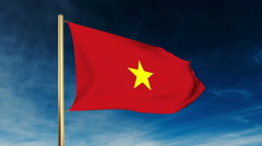 Vietnam flag slider style. Waving in the wind with cloud background animation Stock Footage