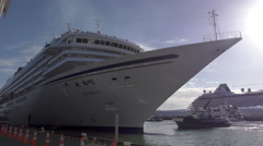 Japanese Cruise Ship Asaka II Arriving in Auckland Stock Footage