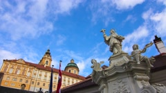 Timelapse of clouds move over the monastery of Melk Stock Footage