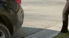Man hands over wallet after car damage assessment 4K Stock Footage