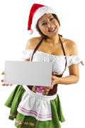 Santa's Helper Elf with Blank Sign Stock Photos