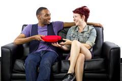 Interracial Couple Valentines Day - stock photo