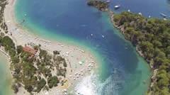 Panoramic aerial view of Oludeniz Beach and blue lagoon and in Turkey Stock Footage