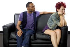 Interracial Couple Fighting - stock photo