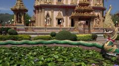 Buddhist temple of Wat Chalong, Phuket, Thailand, tilt up Stock Footage