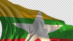 Flag of Burma-Myanmar Stock Footage