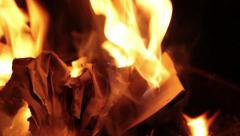 Newspaper sheets burning in bonfire. Stock Footage