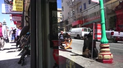 San Francisco, reflection businessman in window Stock Footage