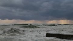 Storm in the Black sea on the backdrop of gray clouds in Sochi Stock Footage