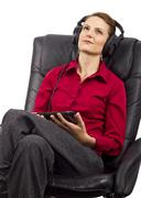 Audio Books on Tablet - stock photo