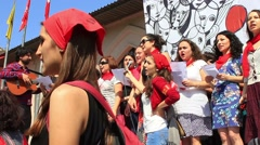 Activist women singing songs during the May Day Stock Footage