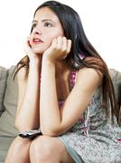 Girl Watching TV Stock Photos
