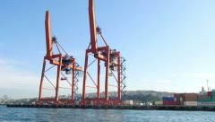 Quayside gantry cranes in docks. 4K video Stock Footage