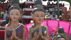 Zoom in to wooden tourist souvenirs, Phuket, Thailand Stock Footage