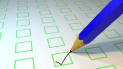 Pencil ticking boxes survey vote exam loop Stock Footage