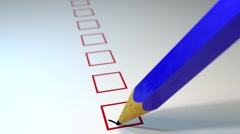 Pencil ticking boxes survey vote exam loop - stock footage