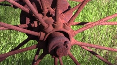 Close shot of rusty wheel hub at farm Stock Footage