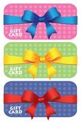 Colorful gift cards with ribbons on Polka Dots Background Stock Illustration