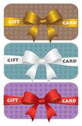 Colorful gift cards with ribbons Stock Illustration
