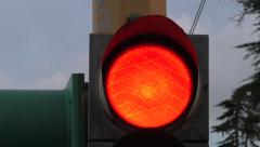 Red close up traffic light in Catania, sicily, italy. 00242 Stock Footage