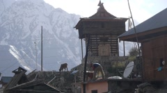 People working,Chitkul,Kinnaur,India Stock Footage