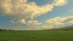 Summer/Spring Greek countryside fields on the horizon, clouds, sunny Stock Footage