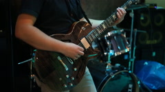 Guitarist on stage Stock Footage