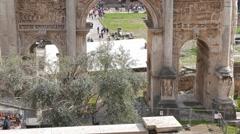 Septimius Severus Arch, Roman Forum. Rome, Italy Stock Footage