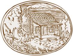 Log Cabin Farm House Oval Etching Stock Illustration