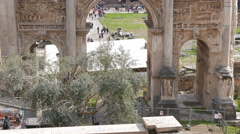 Septimius Severus Arch, Roman Forum. Rome, Italy. 4K Stock Footage