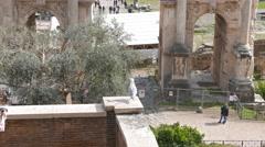 Roman Forum, Septimius Severus Arch. Rome, Italy. 4K Stock Footage