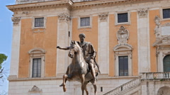 Statue of Marcus Aurelius and Comune Di Roma. Rome, Italy. 4K Stock Footage