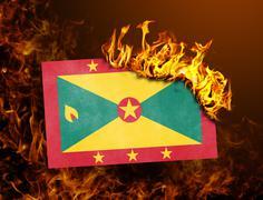 Flag burning - Grenada Stock Photos