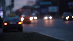 Pan Across City Blur Background. Moving Bokeh Circles Of Night Traffic. - stock footage