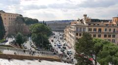 Cordonata and Piazza D'Aracoeli. Rome, Italy. 4K Stock Footage
