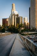 Stock Photo of Buildings in downtown Los Angeles and the 4th Street Bridge, in downtown Los