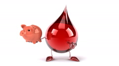 Funny Blood drop with piggy bank Stock Footage