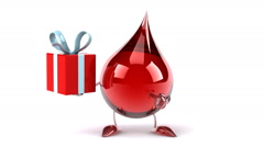 Funny Blood drop with gift - stock footage