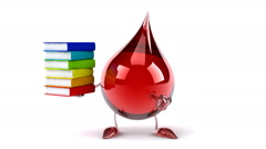 Funny Blood  with books Stock Footage