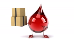 Funny Blood drop with boxes - stock footage