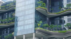 Modern building with garden terraces. Green environment, nature concept. Stock Footage
