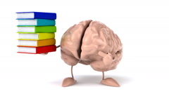 Fun brain  with books Stock Footage