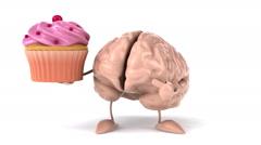 Fun brain with cupcake Stock Footage
