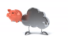 Funny Cloud with piggy bank Stock Footage