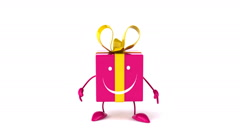 Fun gift jumping front view - stock footage