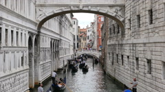 Fast Motion - Gondolas on Venice, Italy side canal Stock Footage